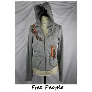 Free People Gray Zipped Hoodie Embroidered